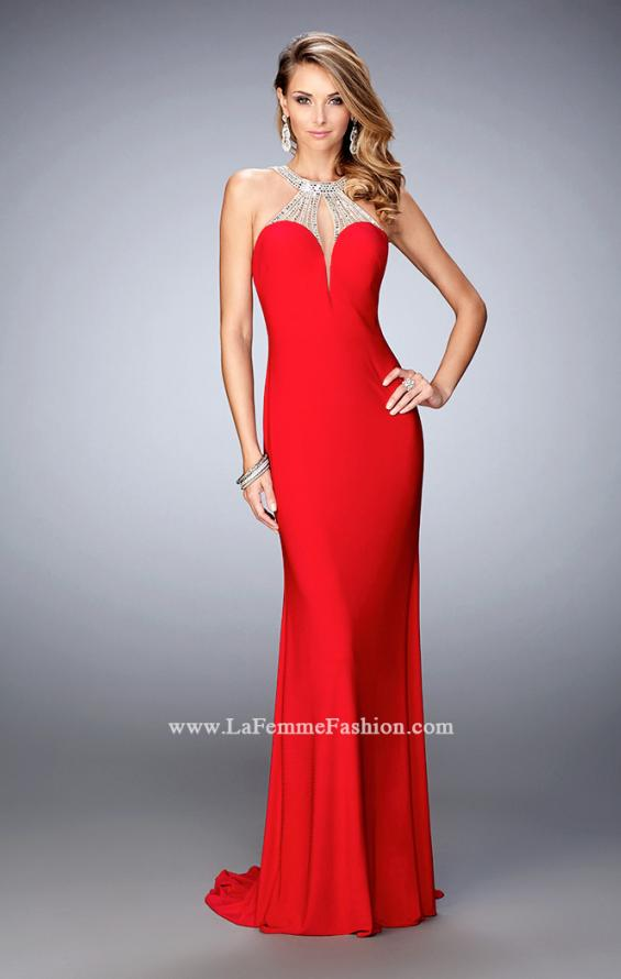 Picture of: Jersey Prom Dress with Sweetheart Neckline and Train in Red, Style: 21929, Detail Picture 2