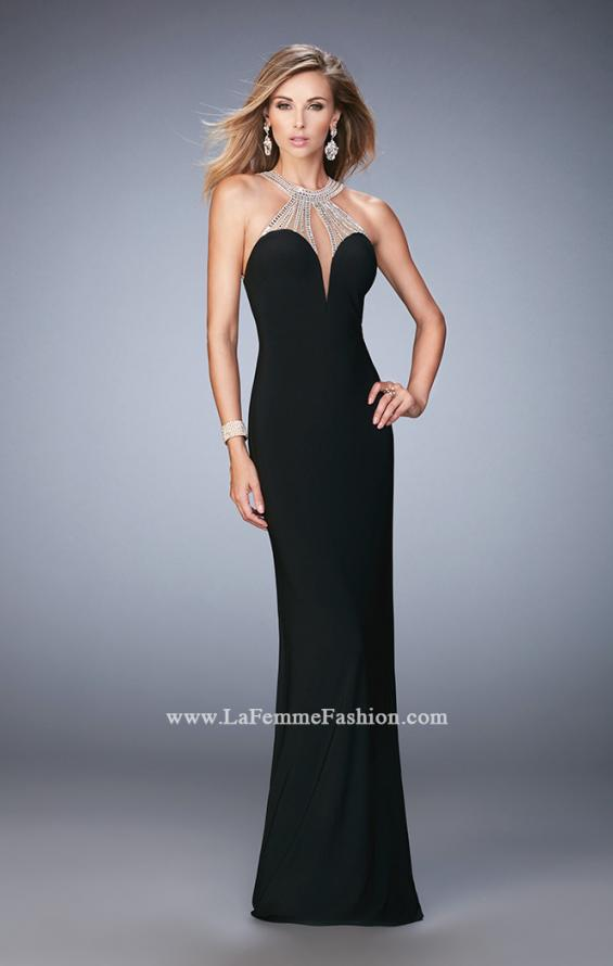 Picture of: Jersey Prom Dress with Sweetheart Neckline and Train in Black, Style: 21929, Detail Picture 3