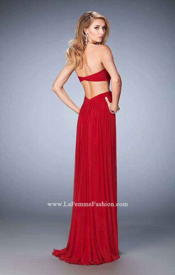 Picture of: Long Prom Dress with Cut Outs and a Slight Train in Red, Style: 21948, Back Picture