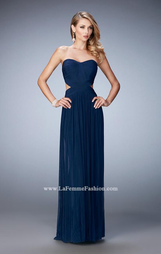 Picture of: Long Prom Dress with Cut Outs and a Slight Train in Blue, Style: 21948, Detail Picture 1