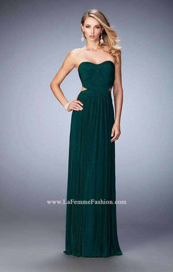 Picture of: Long Prom Dress with Cut Outs and a Slight Train in Green, Style: 21948, Detail Picture 2