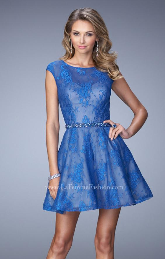 Picture of: Glam Lace Dress with Cap Sleeves and Beaded Belt in Blue, Style: 21949, Main Picture