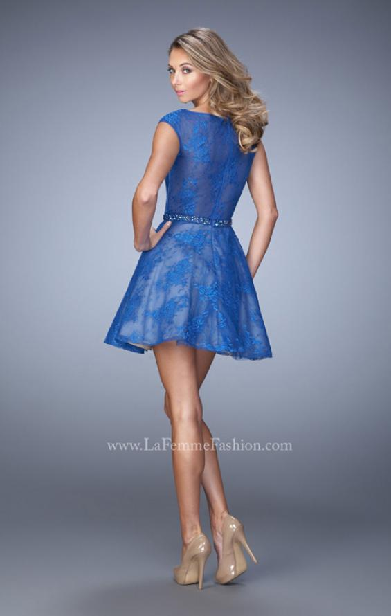 Picture of: Glam Lace Dress with Cap Sleeves and Beaded Belt in Blue, Style: 21949, Back Picture