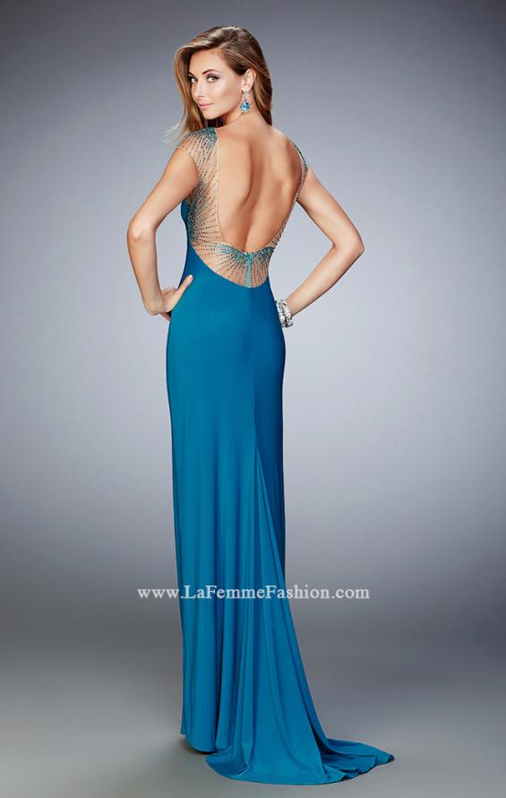 Picture of: Jersey Gown with Embellished Neckline and Train, Style: 21953, Back Picture