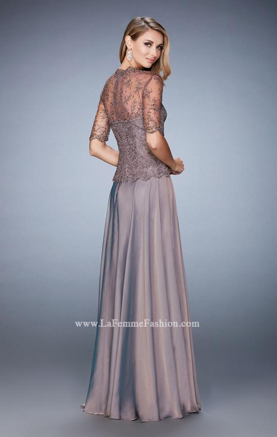 Picture of: Long Evening Gown with Full Skirt and 3/4 Length Sleeves in Brown, Style: 21957, Back Picture