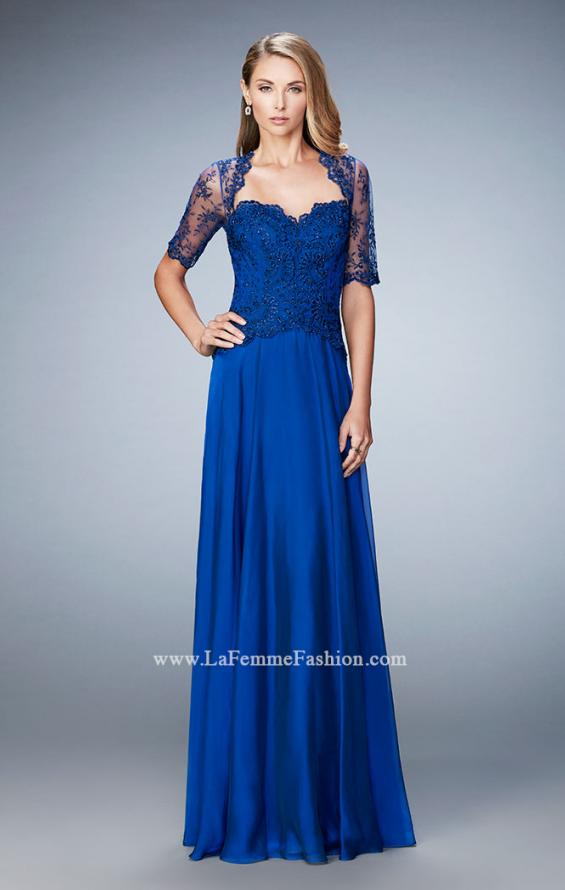Picture of: Long Evening Gown with Full Skirt and 3/4 Length Sleeves in Blue, Style: 21957, Detail Picture 1