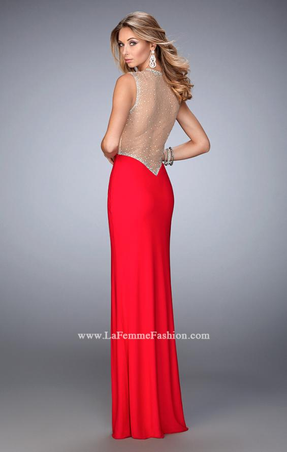 Picture of: Net Jersey Prom Dress with V Neckline and Side Slit, Style: 21963, Back Picture