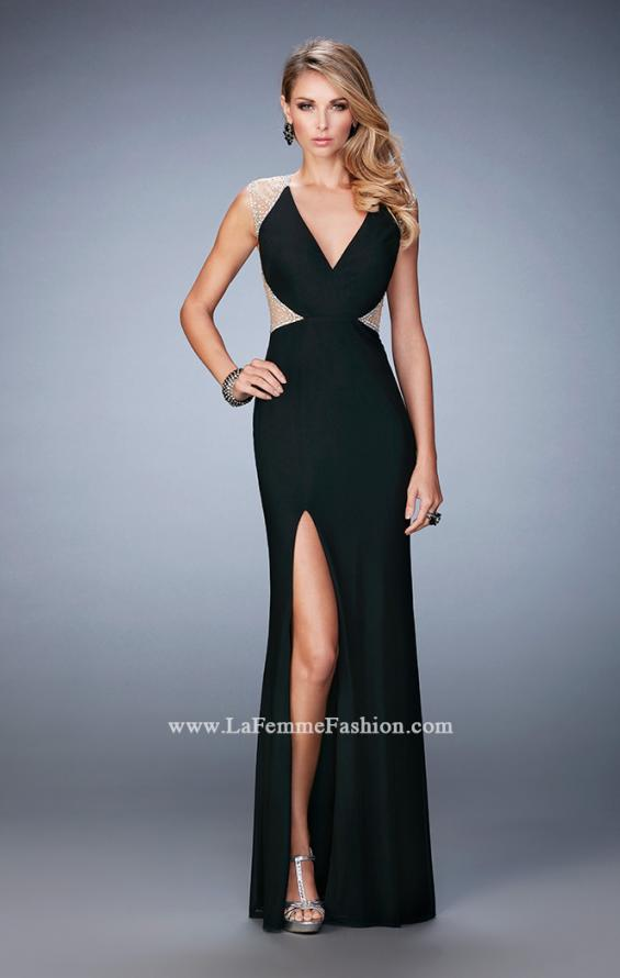 Picture of: Net Jersey Prom Dress with V Neckline and Side Slit, Style: 21963, Detail Picture 2