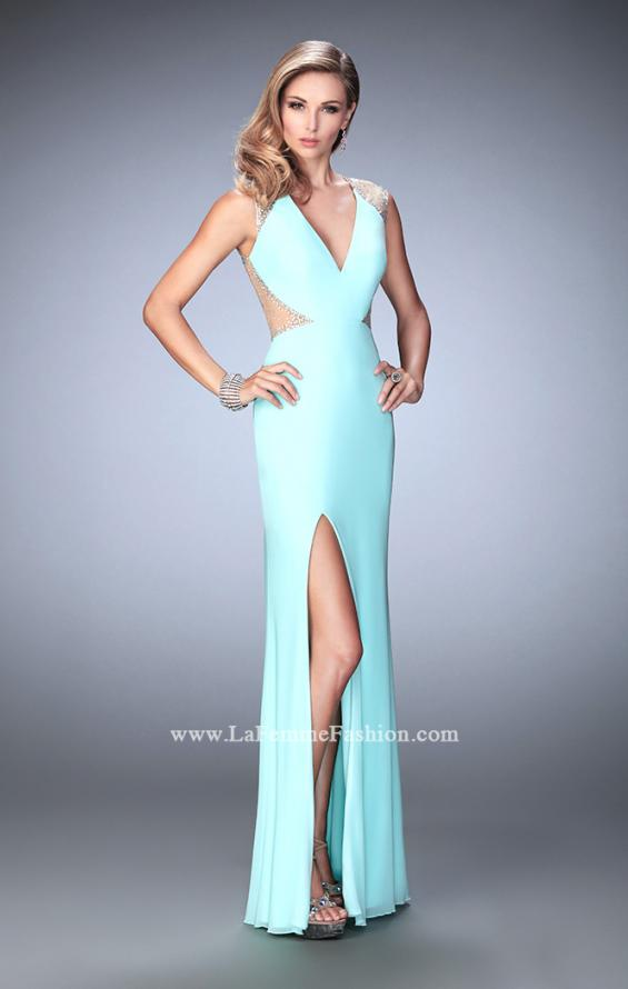 Picture of: Net Jersey Prom Dress with V Neckline and Side Slit, Style: 21963, Detail Picture 3