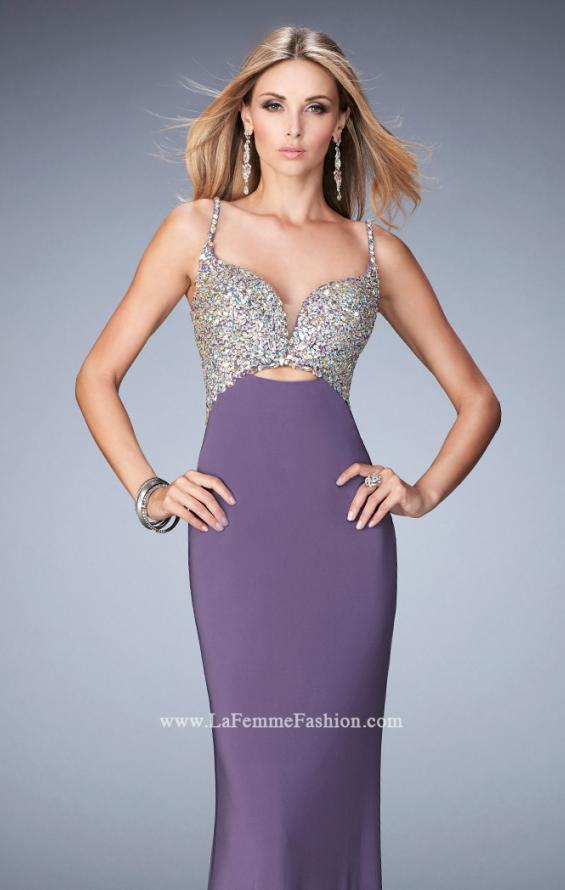Picture of: Crystal Gem Encrusted Long Jersey Prom Gown in Purple, Style: 21968, Main Picture