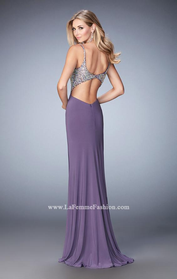 Picture of: Crystal Gem Encrusted Long Jersey Prom Gown in Purple, Style: 21968, Back Picture