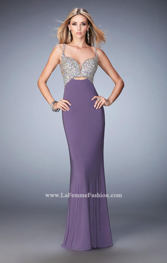 Picture of: Crystal Gem Encrusted Long Jersey Prom Gown in Purple, Style: 21968, Detail Picture 1