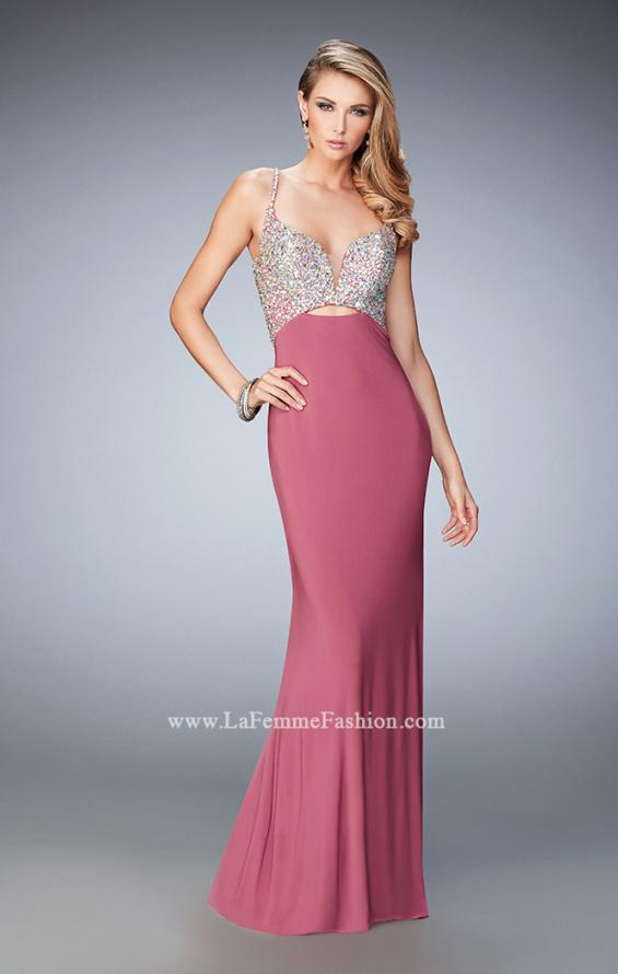 Picture of: Crystal Gem Encrusted Long Jersey Prom Gown in Pink, Style: 21968, Detail Picture 2