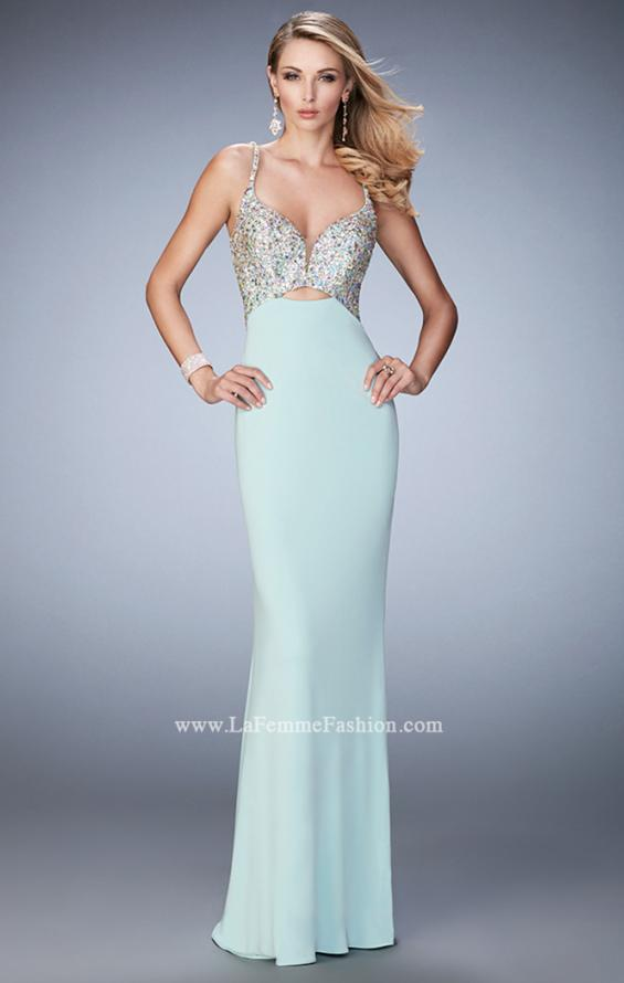 Picture of: Crystal Gem Encrusted Long Jersey Prom Gown in Blue, Style: 21968, Detail Picture 3