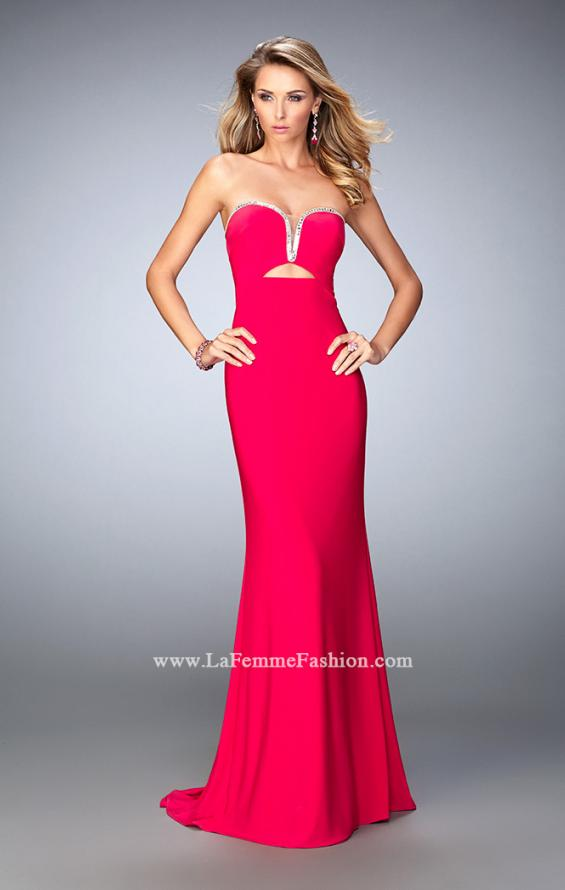 Picture of: Rhinestone Trim Prom Dress with Cut Outs and a Train, Style: 21973, Main Picture