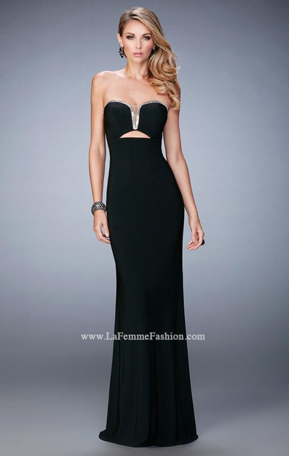 Picture of: Rhinestone Trim Prom Dress with Cut Outs and a Train, Style: 21973, Detail Picture 1