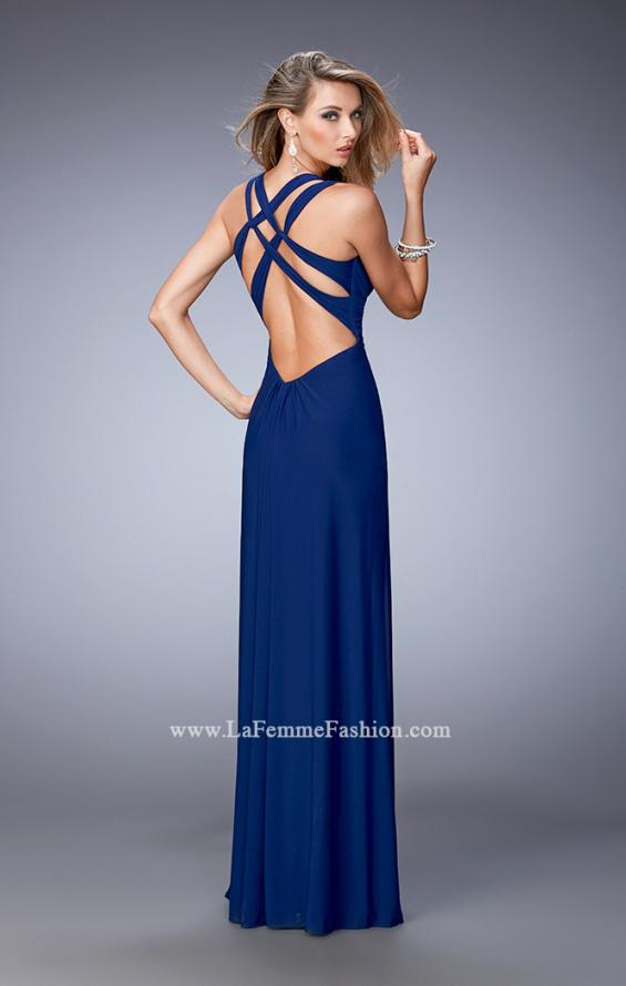 Picture of: Sultry Net Gown with Strappy Back and Soft Gathering, Style: 21976, Main Picture
