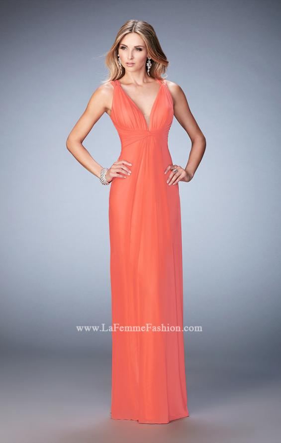 Picture of: Sultry Net Gown with Strappy Back and Soft Gathering, Style: 21976, Detail Picture 1