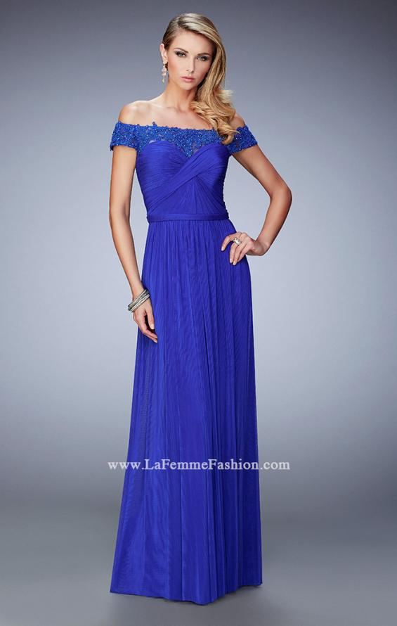 Picture of: Off the Shoulder Net Gown with Gathered Skirt and Bodice in Blue, Style: 21979, Main Picture