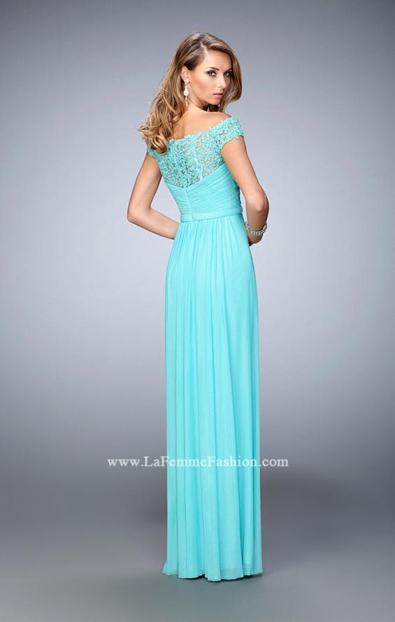 Picture of: Off the Shoulder Net Gown with Gathered Skirt and Bodice in Blue, Style: 21979, Back Picture