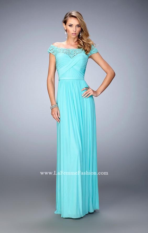 Picture of: Off the Shoulder Net Gown with Gathered Skirt and Bodice in Blue, Style: 21979, Detail Picture 1