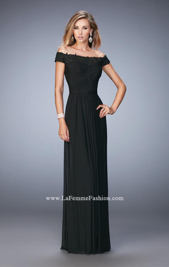 Picture of: Off the Shoulder Net Gown with Gathered Skirt and Bodice in Black, Style: 21979, Detail Picture 2
