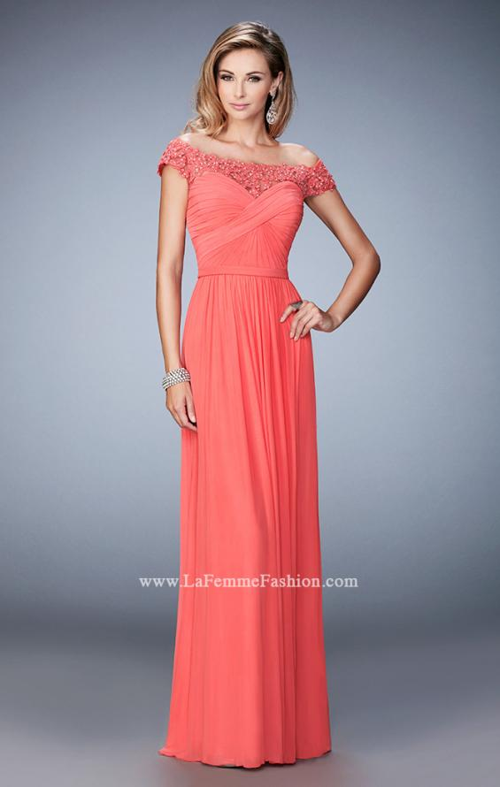 Picture of: Off the Shoulder Net Gown with Gathered Skirt and Bodice in Orange, Style: 21979, Detail Picture 3