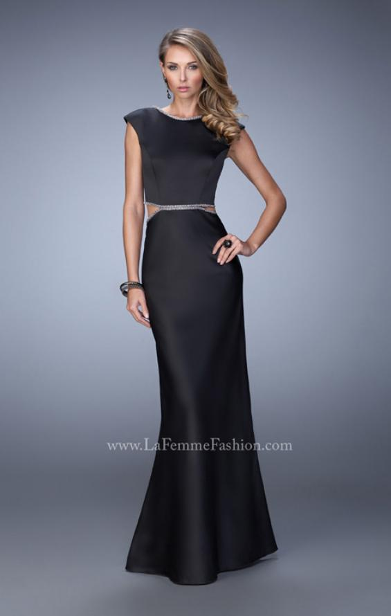 Picture of: Long Satin Prom Dress with Cut Outs and Open Back in Black, Style: 21980, Main Picture