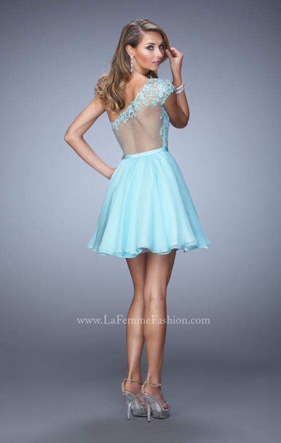 Picture of: One Shoulder Chiffon Dress with Full Skirt and Lace Trim in Blue, Style: 21992, Back Picture