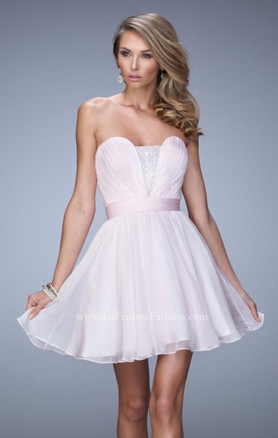 Picture of: Rhinestone Chiffon Prom Dress with Rhinestones in Pink, Style: 21994, Main Picture