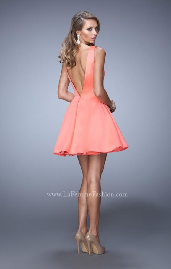 Picture of: Satin Dress with Thick Straps and Deep V Open Back in Orange, Style: 22009, Back Picture