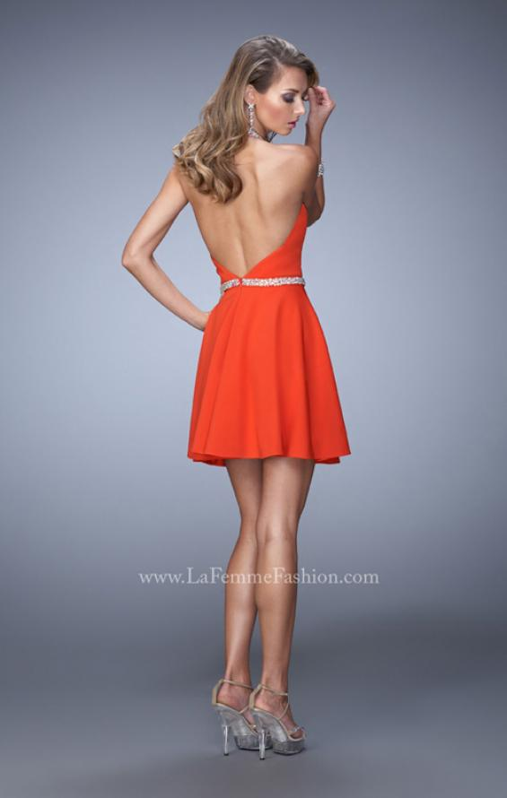 Picture of: Bold Jersey Short Dress with Halter Neckline and Stones in Orange, Style: 22016, Back Picture