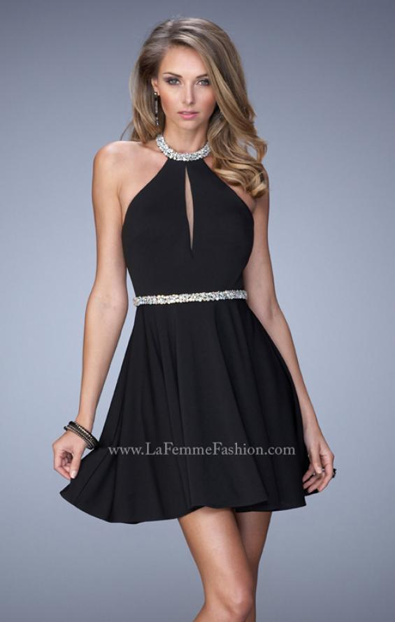 Picture of: Bold Jersey Short Dress with Halter Neckline and Stones in Black, Style: 22016, Detail Picture 1