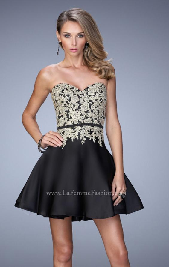 Picture of: Satin Cocktail Dress with Lace Appliques and Belt in Black, Style: 22017, Main Picture
