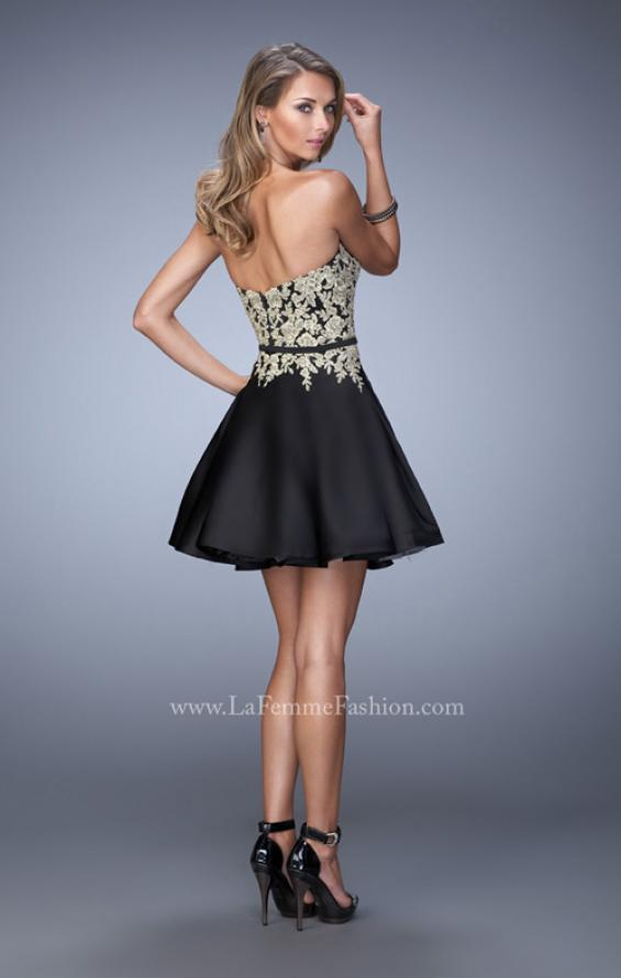 Picture of: Satin Cocktail Dress with Lace Appliques and Belt in Black, Style: 22017, Back Picture