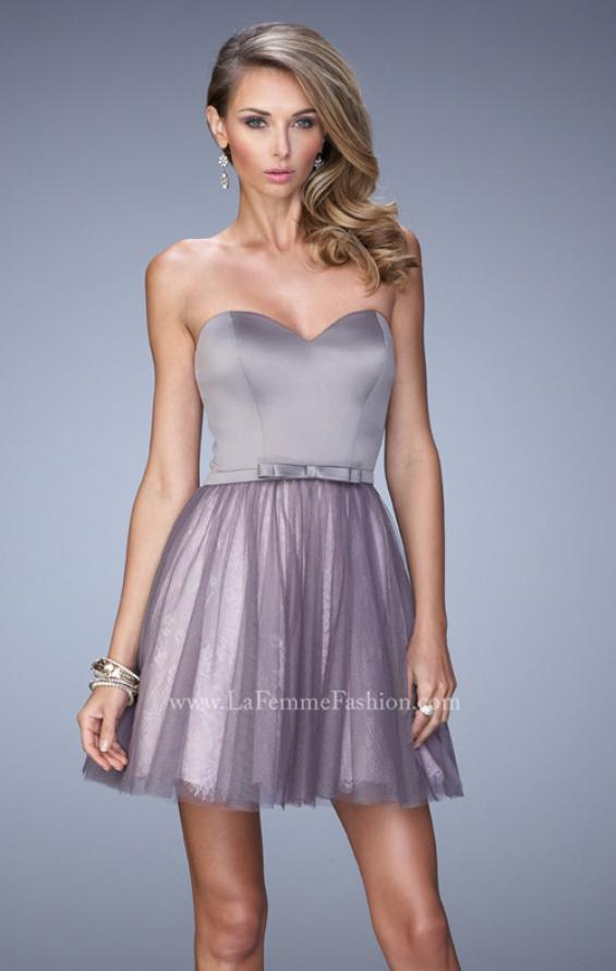 Picture of: Short Dress with Lace Skirt and Satin Belt in Silver, Style: 22022, Main Picture