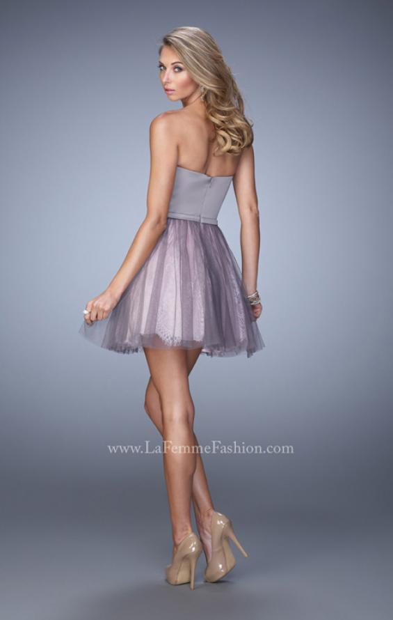 Picture of: Short Dress with Lace Skirt and Satin Belt in Silver, Style: 22022, Back Picture