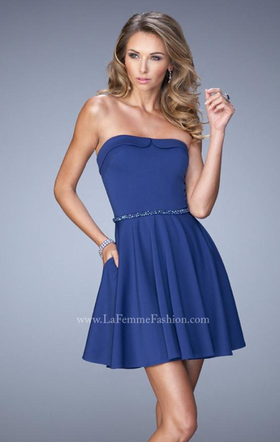 Picture of: Short Jersey Dress with Beaded Belt and Pockets in Blue, Style: 22023, Main Picture