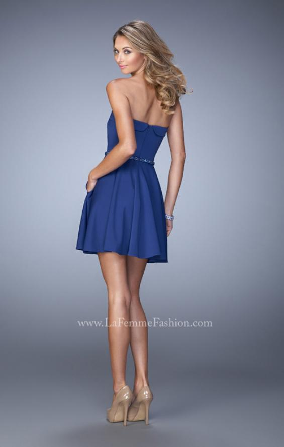 Picture of: Short Jersey Dress with Beaded Belt and Pockets in Blue, Style: 22023, Back Picture