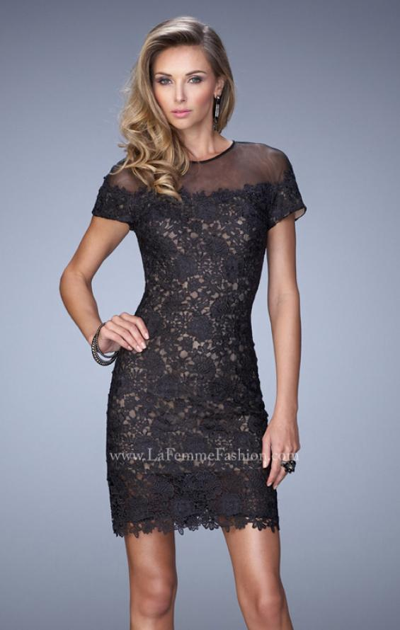 Picture of: Short Sleeve Lace Dress with Sheer Scoop Neckline in Black, Style: 22044, Main Picture
