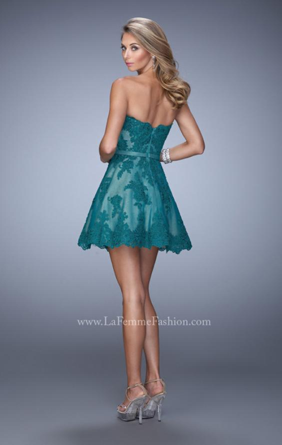 Picture of: Lace Sweetheart Neck Dress with Belt and Lace Overlay, Style:  22046