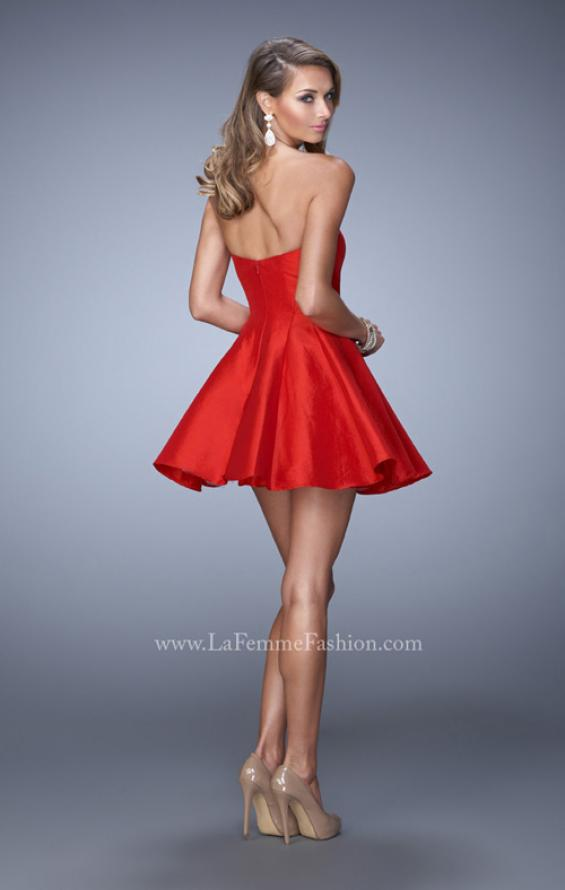 Picture of: Satin Dress with Beaded Trim and Sweetheart Neckline in Red, Style: 22047, Back Picture