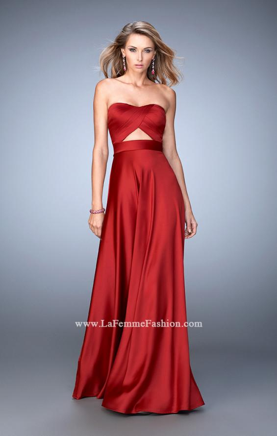 Picture of: Scoop Neck and Pleated Bodice Stretch Satin Dress in Red, Style: 22052, Main Picture