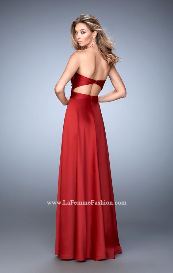 Picture of: Scoop Neck and Pleated Bodice Stretch Satin Dress in Red, Style: 22052, Back Picture