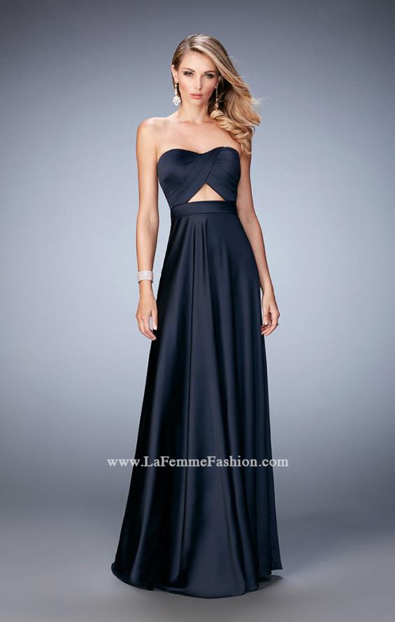 Picture of: Scoop Neck and Pleated Bodice Stretch Satin Dress in Blue, Style: 22052, Detail Picture 1