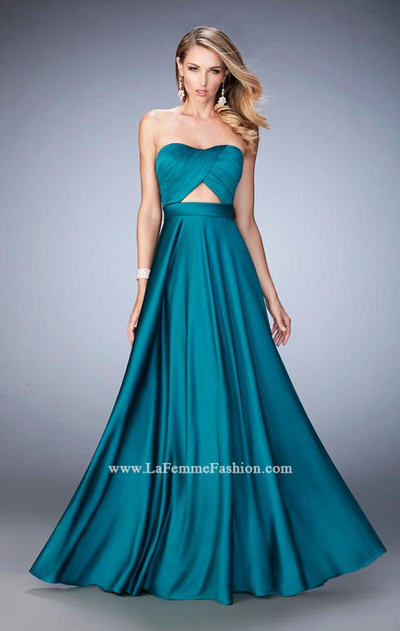 Picture of: Scoop Neck and Pleated Bodice Stretch Satin Dress in Green, Style: 22052, Detail Picture 2