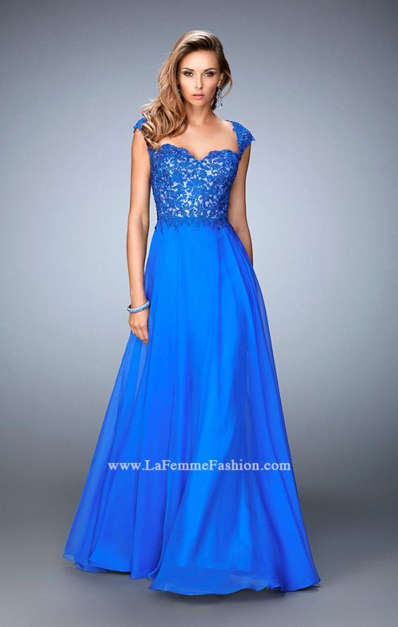 Picture of: Long Chiffon prom Gown with Sheer Back and Rhinestones in Blue, Style: 22053, Main Picture