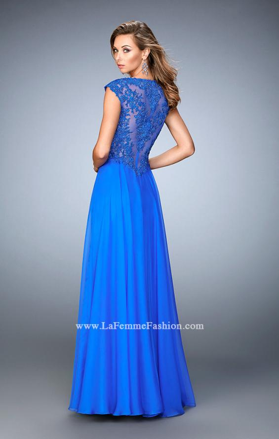 Picture of: Long Chiffon prom Gown with Sheer Back and Rhinestones in Blue, Style: 22053, Back Picture