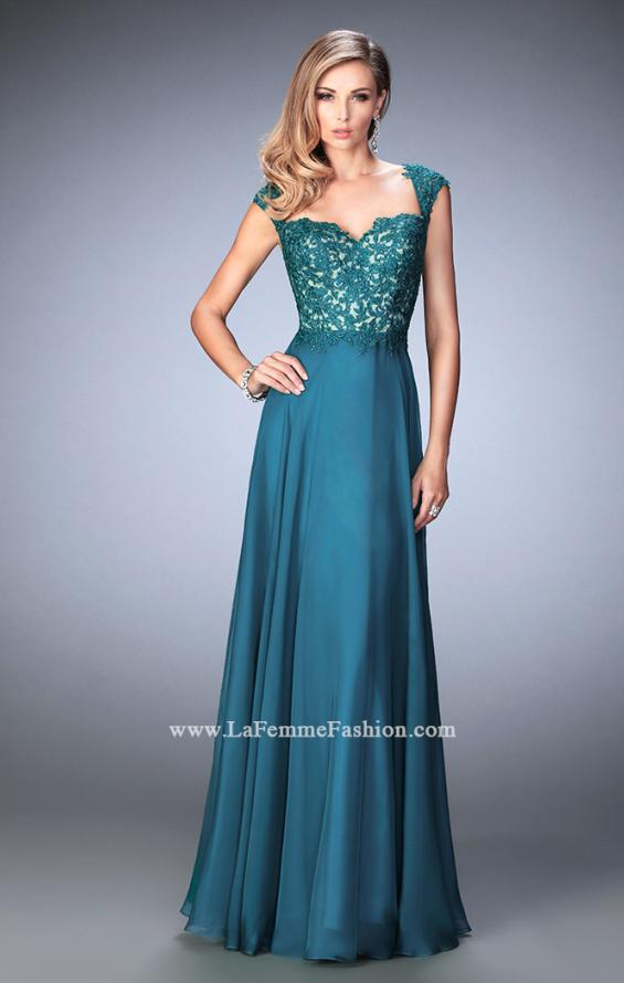 Picture of: Long Chiffon prom Gown with Sheer Back and Rhinestones in Green, Style: 22053, Detail Picture 2