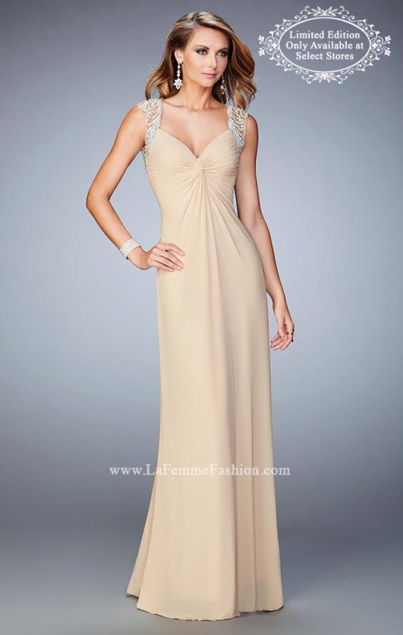 Picture of: Prom Gown with Gathered Bodice and Beaded Lace Detail, Style: 22055, Main Picture